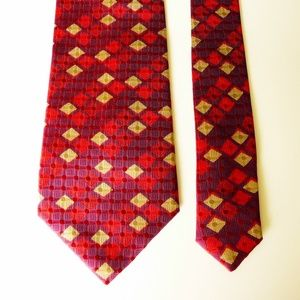 Canali 100% Silk Neck Tie Red, Purple & Gold